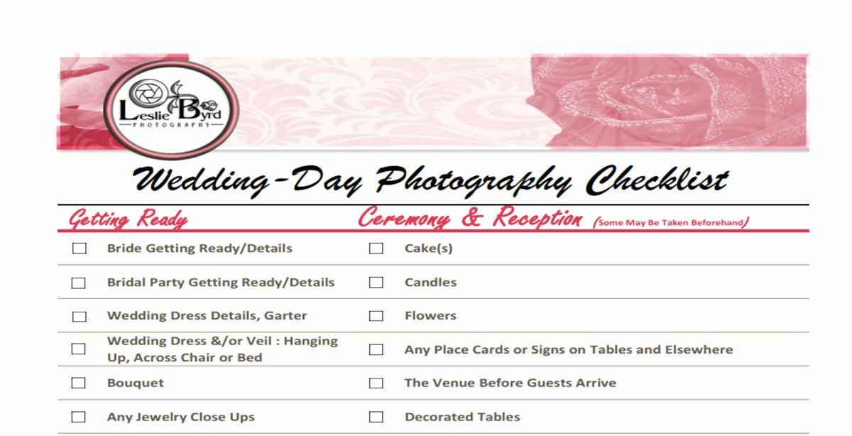 Wedding Photo Checklist Word Document Fresh Wedding Day Checklist – Lesliebyrdphotography