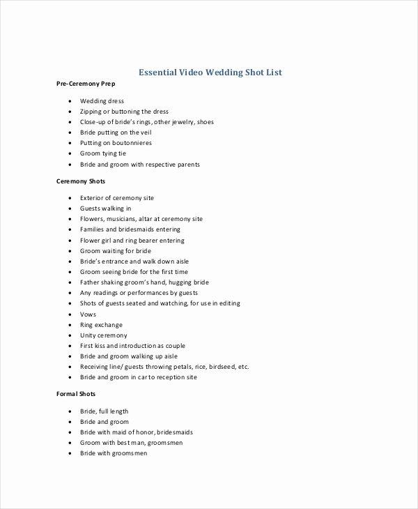 Wedding Photo Checklist Word Document Inspirational Shot List Template 10 Free Word Pdf Psd Documents