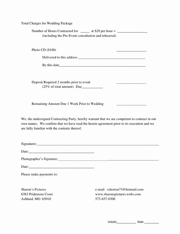 Wedding Photography Contract Template Word Luxury 5 Free Wedding Graphy Contract Templates