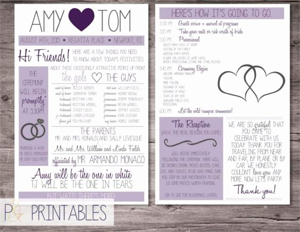 Wedding Program Template Free Download Awesome 44 Wedding Program Templates Free Download
