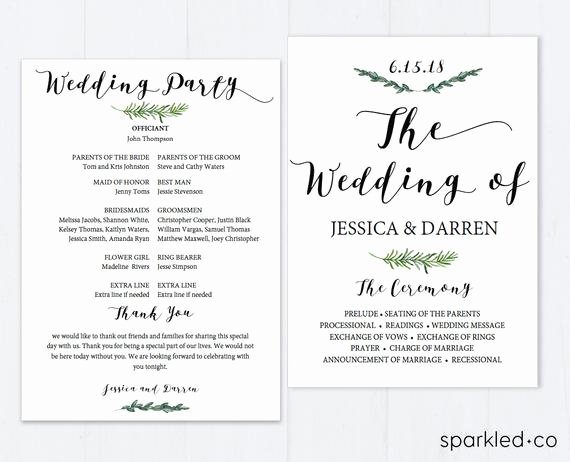 Wedding Program Template Free Download Beautiful Botanical Wedding Program Template Wedding Program Template