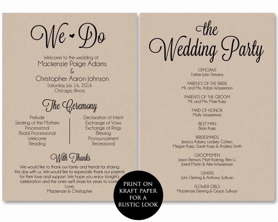 Wedding Program Template Free Download Best Of Ceremony Program Template Wedding Program Printable We