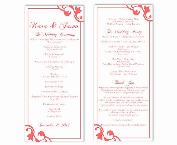 Wedding Program Template Free Download Elegant Wedding Program Template Diy Editable Text Word File