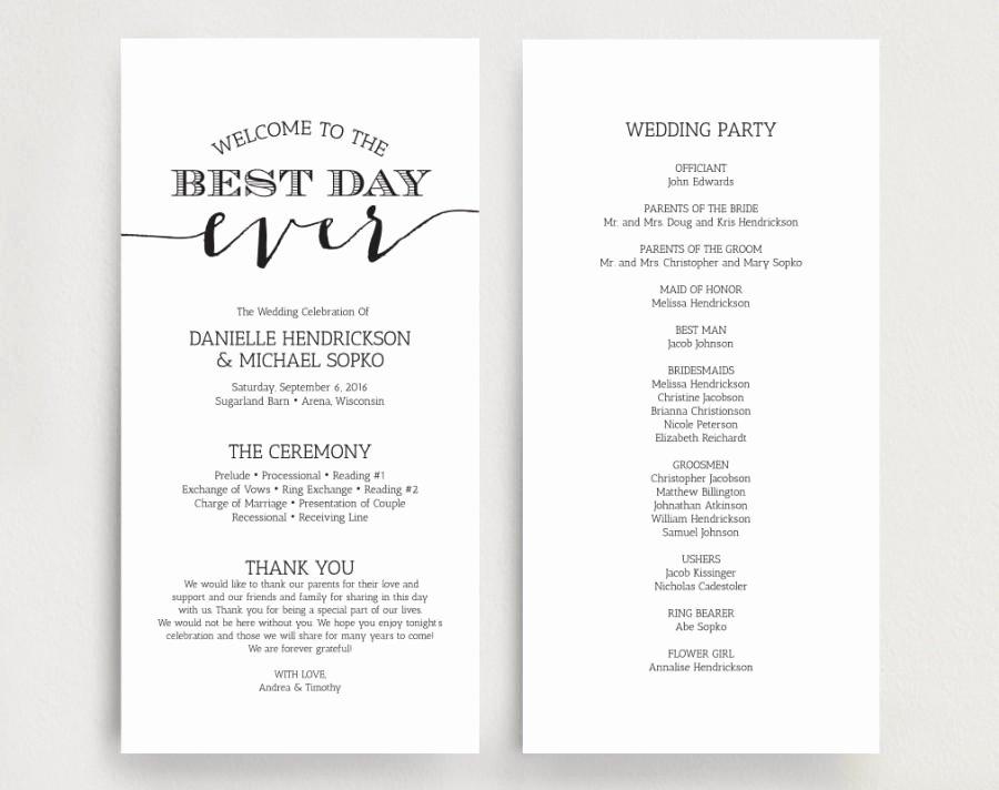 Wedding Program Template Free Download Elegant Wedding Programs Wedding Program Instant Download