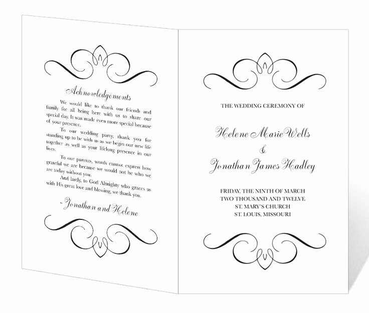 Wedding Program Template Free Download Fresh Wedding Program Template Printable Instant Download