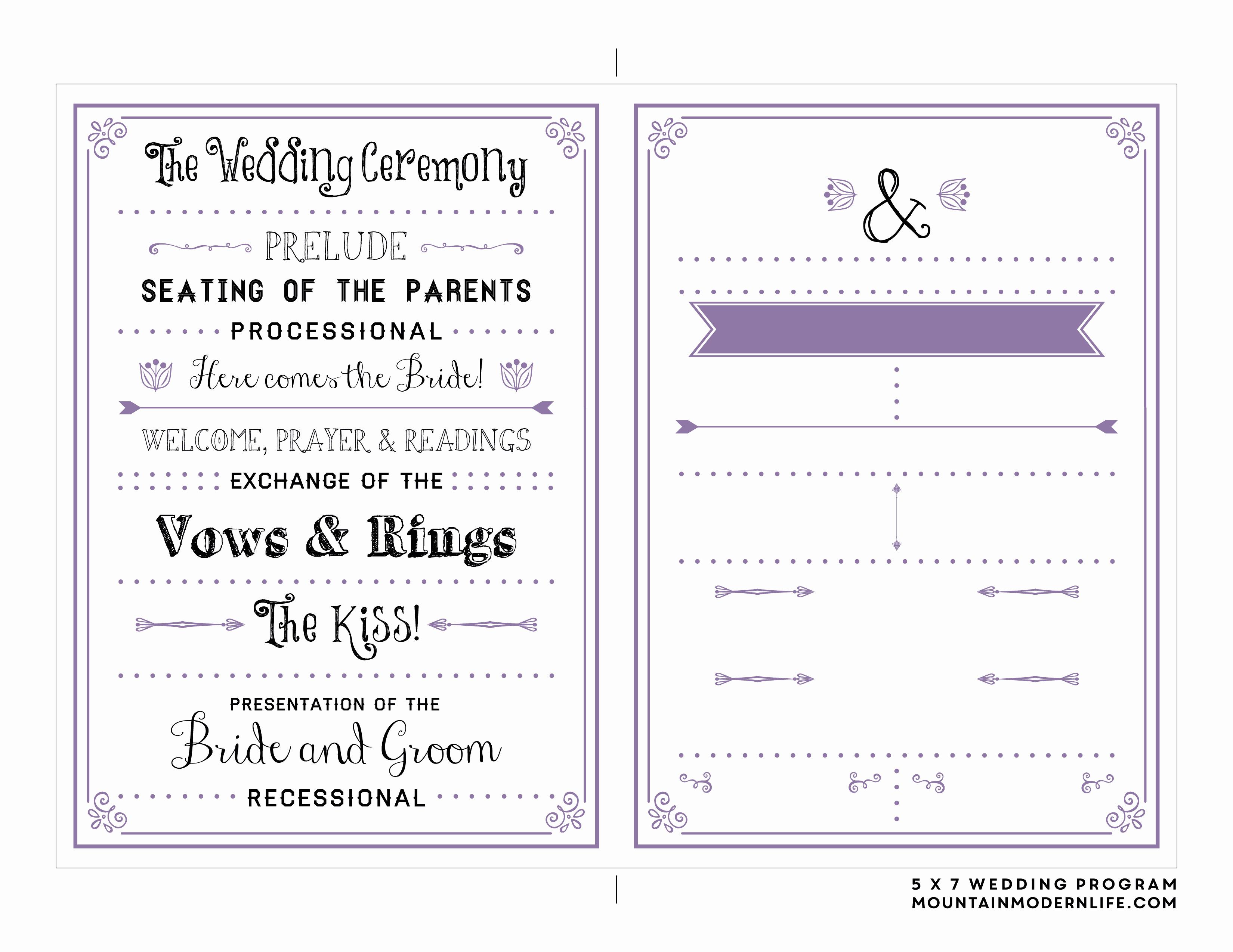 Wedding Program Template Free Download Inspirational Free Printable Wedding Program