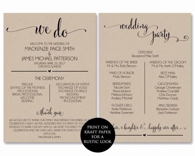 Wedding Program Template Free Download Inspirational Wedding Program Template Wedding Program Printable We Do
