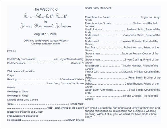 Wedding Program Template Free Download Lovely 8 Word Wedding Program Templates Free Download