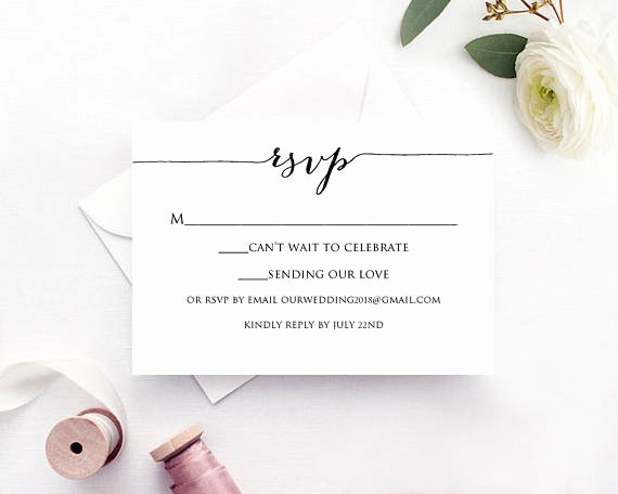 Wedding Rsvp Postcard Templates Awesome Rsvp Card Template Edit & Print Instant Download Diy