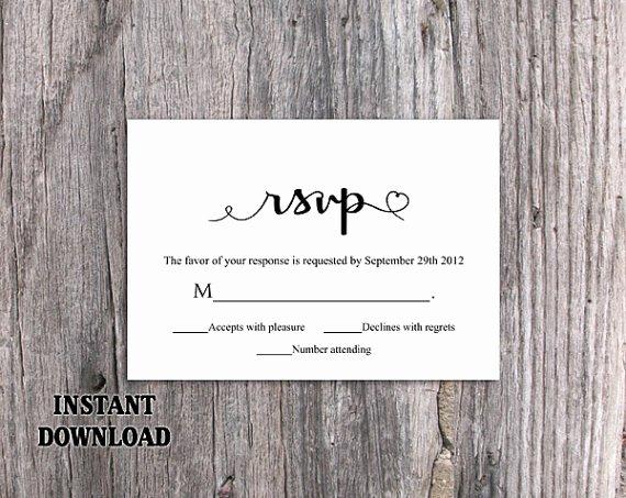 Wedding Rsvp Postcard Templates Beautiful Diy Wedding Rsvp Template Editable Word File Instant