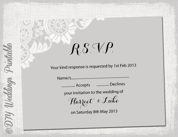 Wedding Rsvp Postcard Templates Best Of Wedding Rsvp Template Diy Silver by