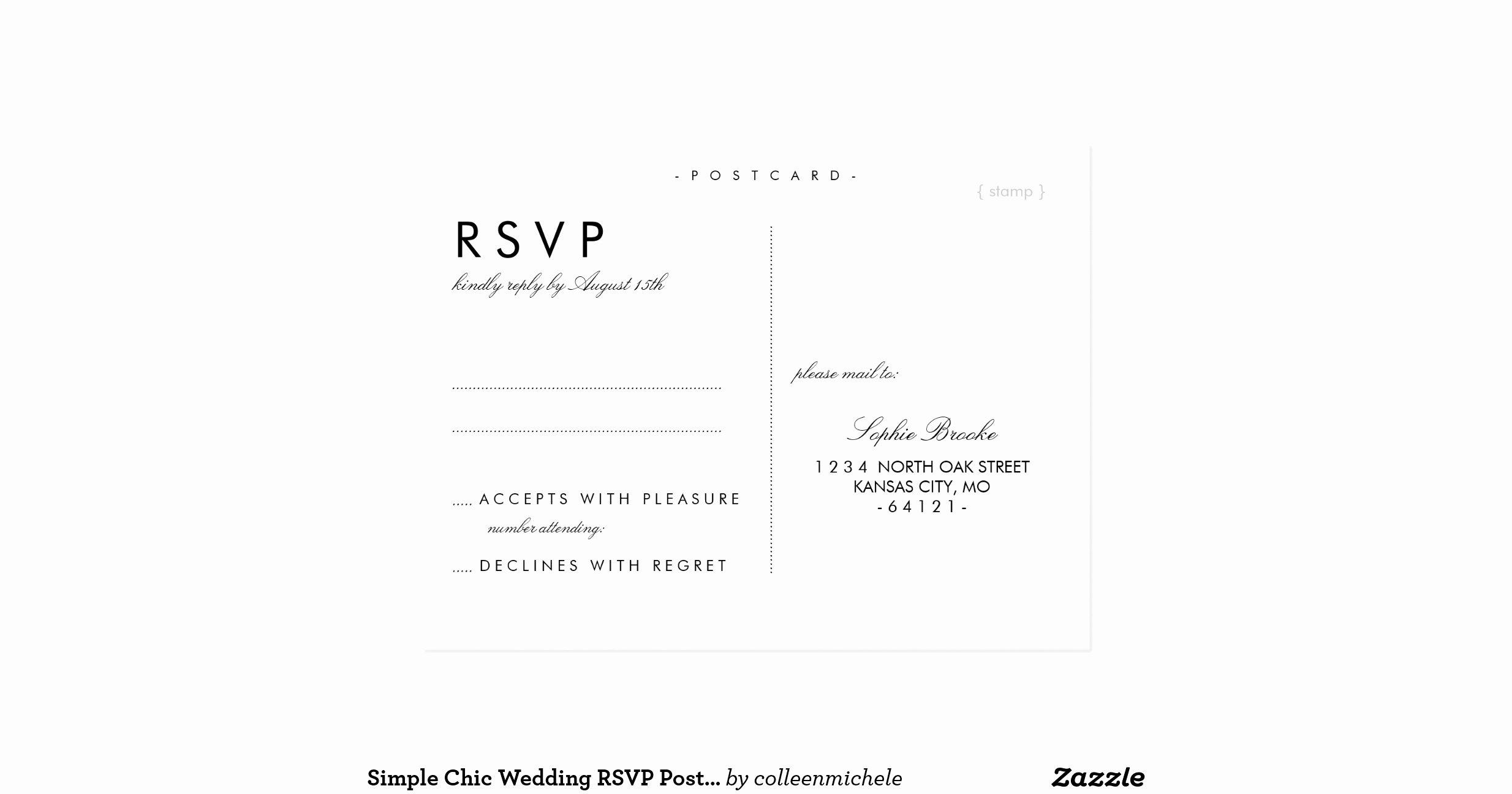 Wedding Rsvp Postcard Templates Inspirational Simple Chic Wedding Rsvp Postcard Template