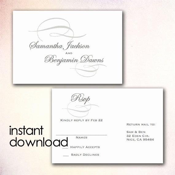 Wedding Rsvp Postcard Templates Lovely Diy Wedding Rsvp Postcard Template Instant Download