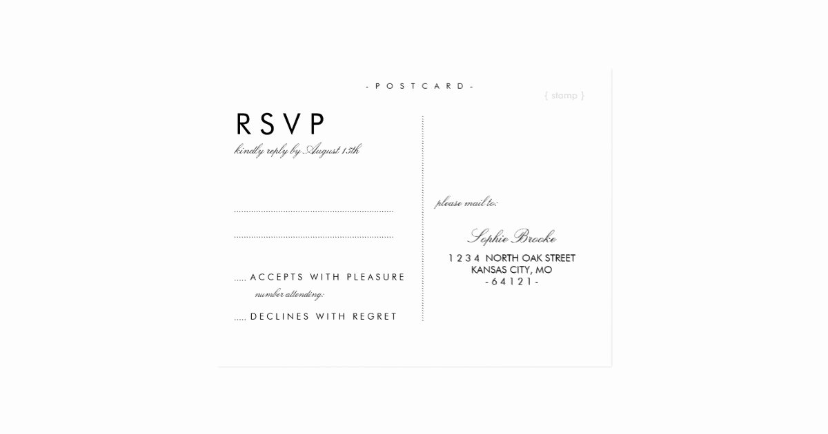 Wedding Rsvp Postcard Templates Lovely Simple Chic Wedding Rsvp Postcard Template