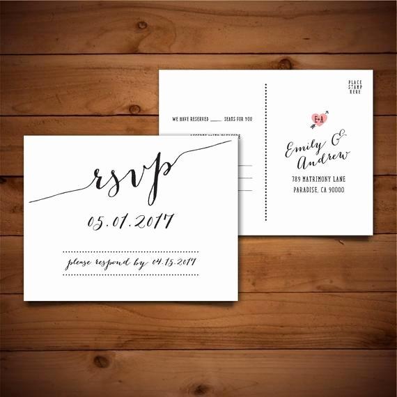 Wedding Rsvp Postcard Templates New Items Similar to Rsvp Diy Wedding Template Rsvp