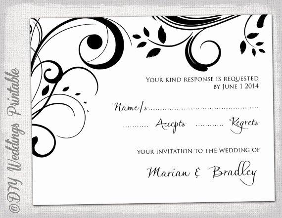 Wedding Rsvp Postcard Templates Unique Rsvp Template Diy Black and White Scroll