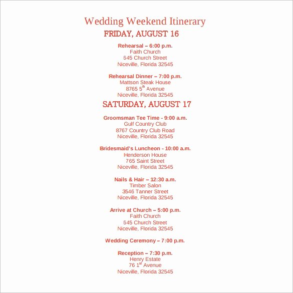 Wedding Weekend Itinerary Template Free Elegant Sample Wedding Weekend Itinerary Template 12 Documents