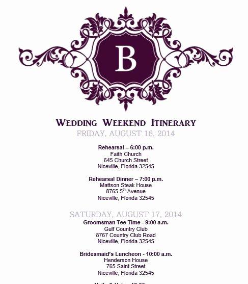 Wedding Weekend Itinerary Template Free Fresh Wedding Itinerary Wedding Itinerary Template Bridetodo