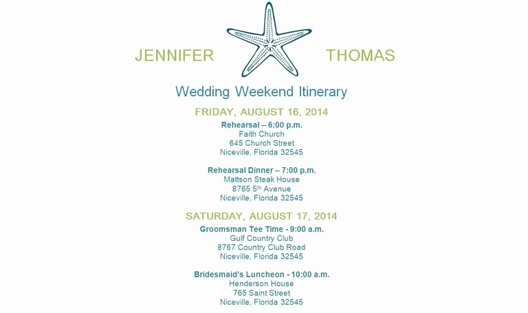 Wedding Weekend Itinerary Template Free Lovely Free Wedding Itinerary Templates and Timelines