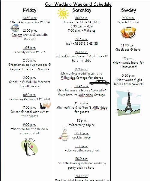 Wedding Weekend Itinerary Template Free Lovely the 25 Best Wedding Timeline Template Ideas On Pinterest