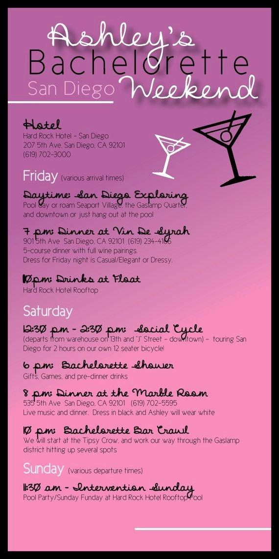 Wedding Weekend Itinerary Template Free New Bachelorette Party Itinerary by Madewithloveinvites On