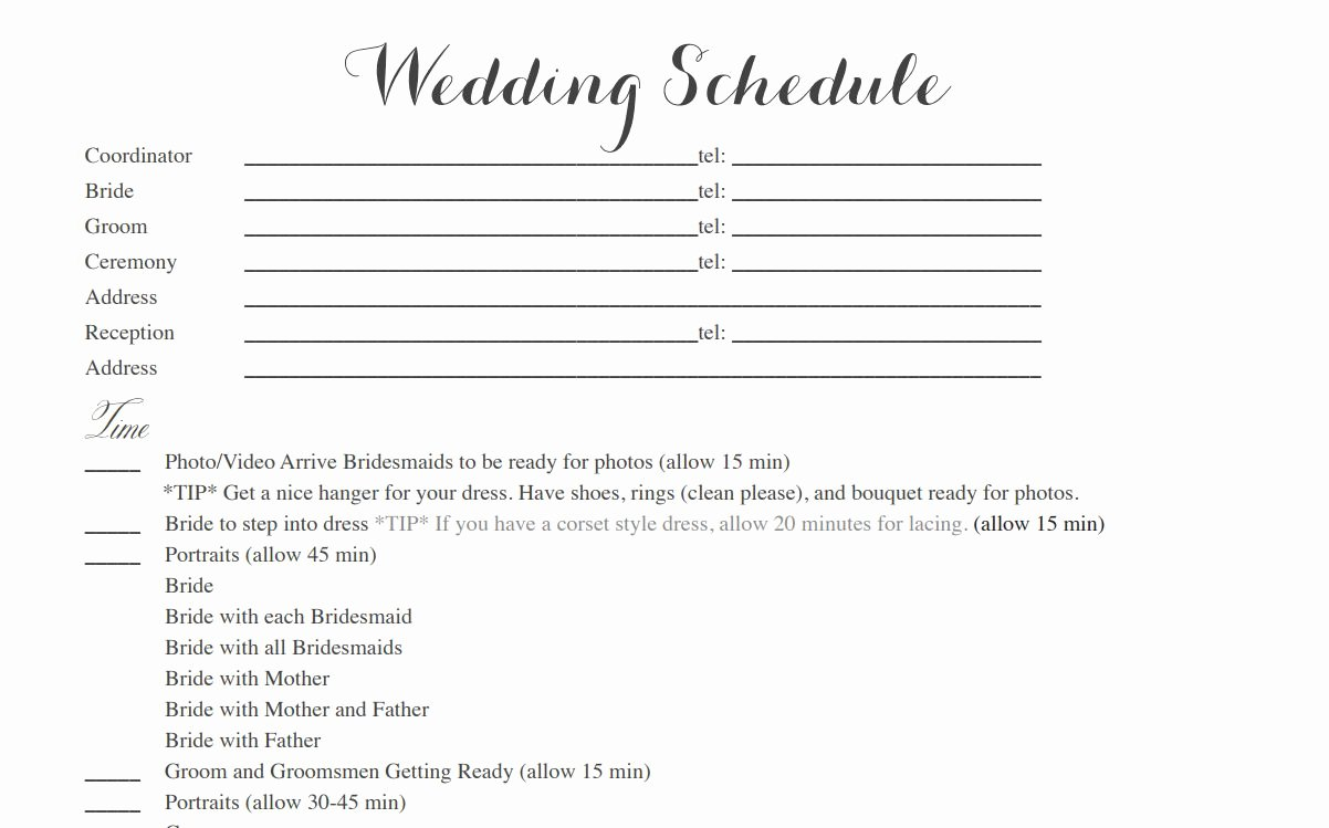 Wedding Weekend Itinerary Template Free New Free Wedding Itinerary Templates and Timelines