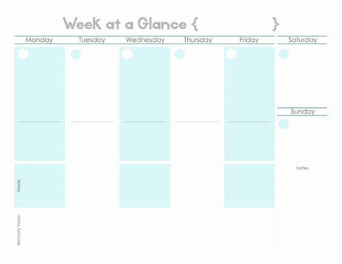 Week at A Glance Templates Best Of Week at A Glance Free Printable