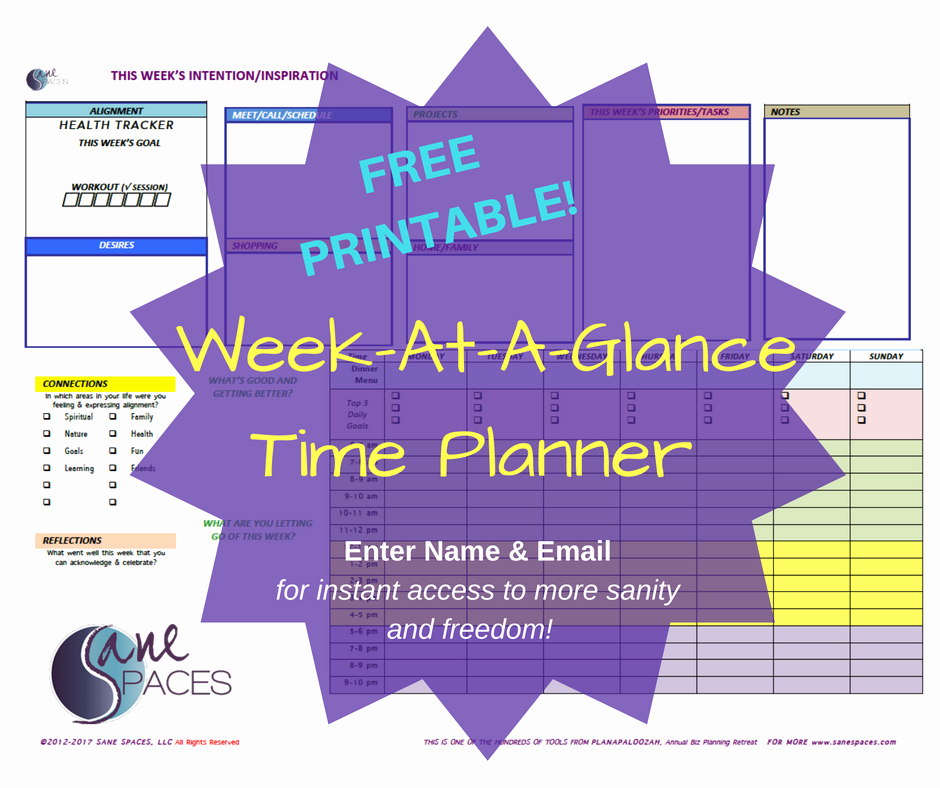 Week at A Glance Templates Elegant Life Flow Coach Professional Women Productivity