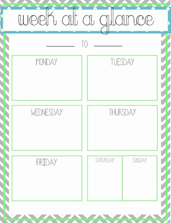 Week at A Glance Templates Fresh Week at A Glance Printable Fice Ideas
