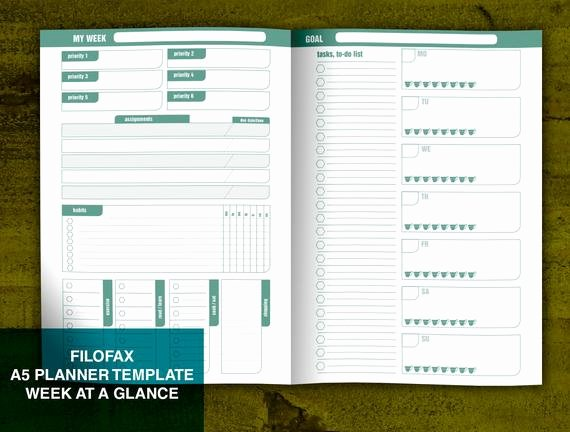 Week at A Glance Templates Inspirational A5 Filofax Size Week at A Glance Notebook Printable Template