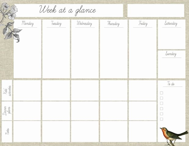 "Week at A Glance Templates Lovely Oh the Lovely Things Free Printable ""week at A Glance"