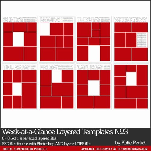Week at A Glance Templates Luxury Week at A Glance Layered Templates No 03 Katie Pertiet