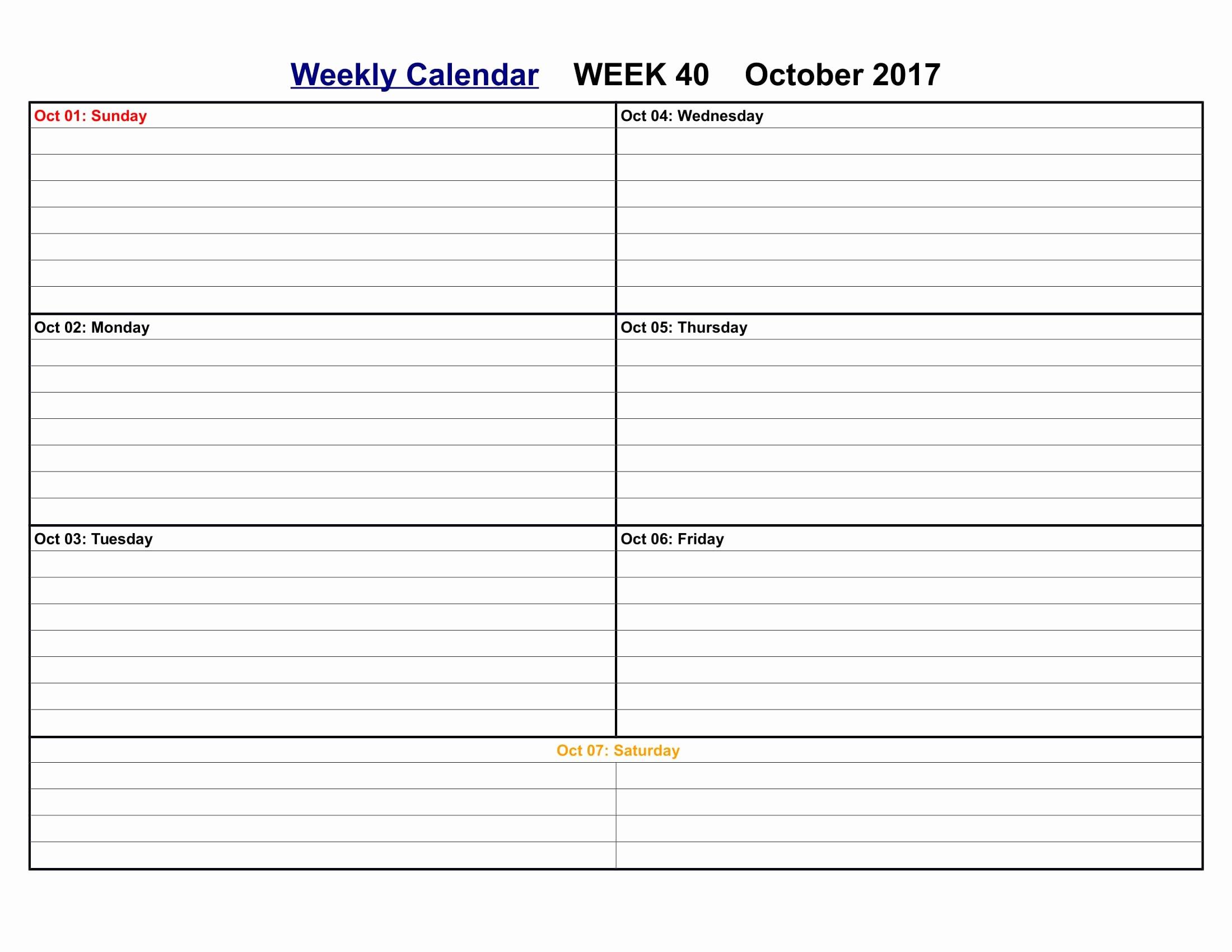 Weekly Calendar Template 2017 Elegant October 2017 Calendar Printable Templates Calendar Fice
