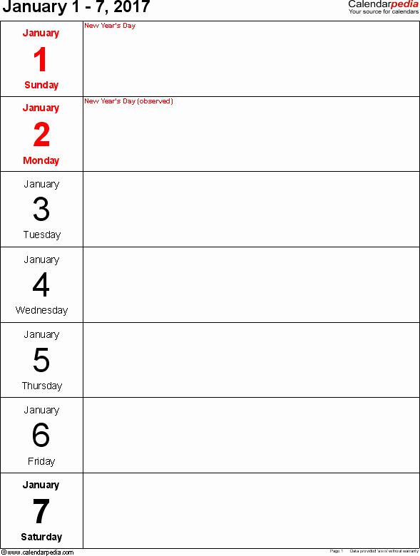 Weekly Calendar Template 2017 Fresh Weekly Calendar 2017 for Pdf 12 Free Printable Templates