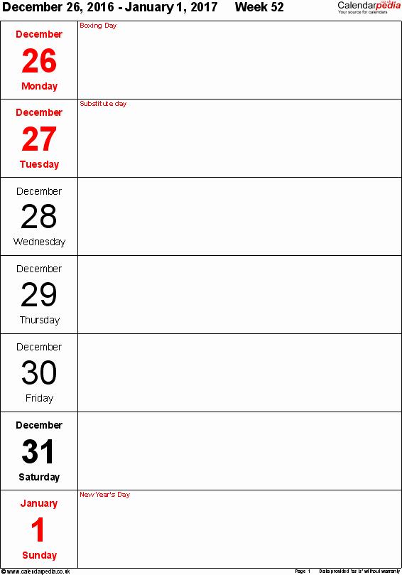 Weekly Calendar Template 2017 New Weekly Calendar 2017 Uk Free Printable Templates for Pdf