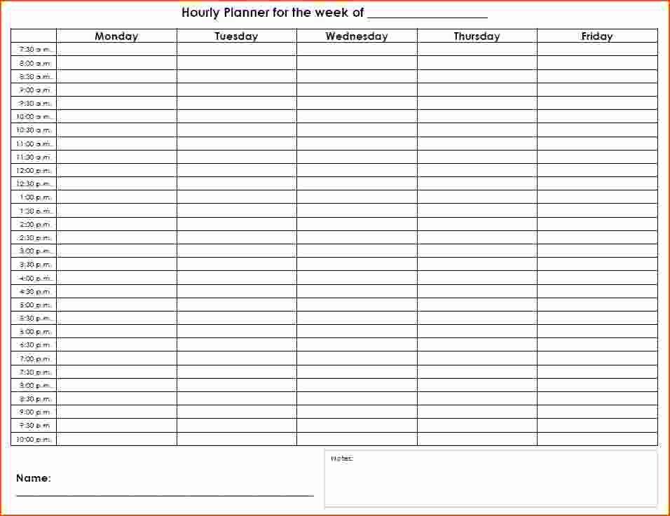 Weekly Hourly Planner Template Beautiful 7 Weekly Hourly Planner Bookletemplate