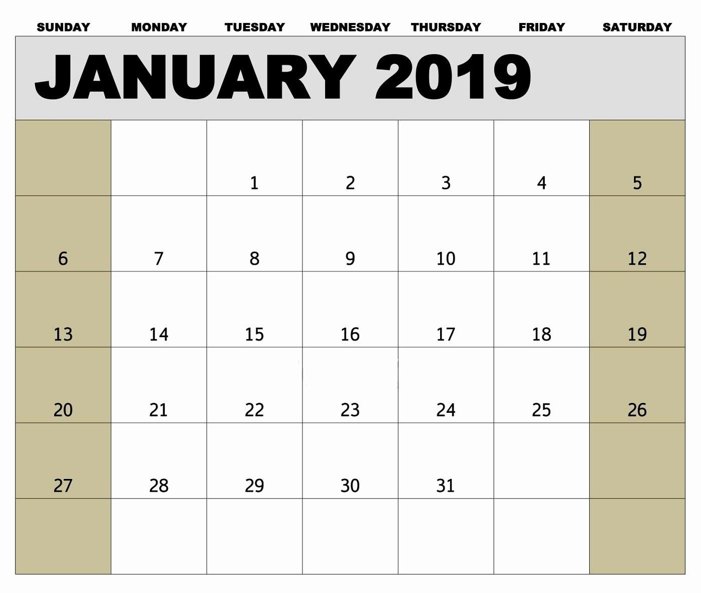 Weekly Payroll Calendar 2019 Beautiful January 2019 Biweekly Payroll Calendar Template for