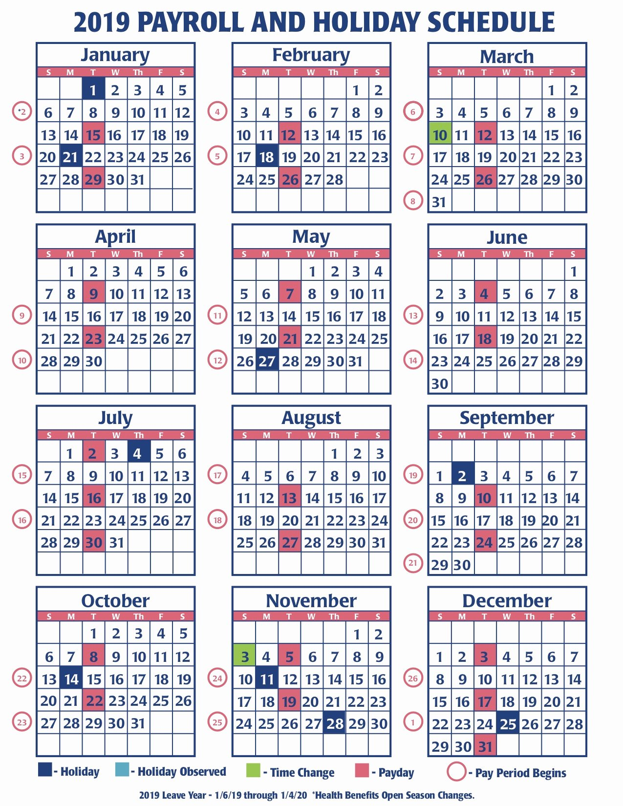 weekly payroll calendar for 2019