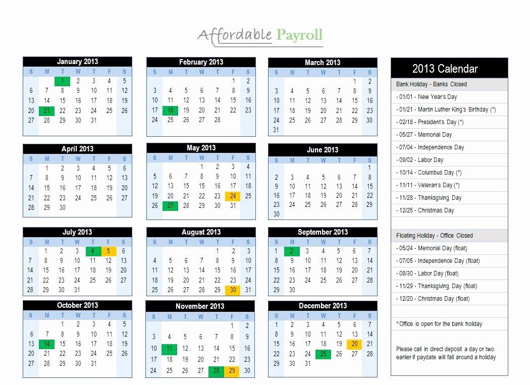 Weekly Payroll Calendar 2019 Unique Bi Monthly Payroll Calendar 2019