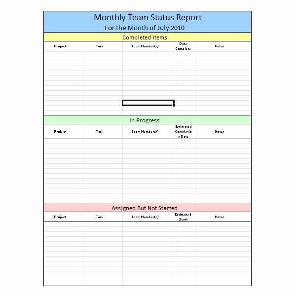 Weekly Project Status Report Template Excel Best Of Sample Team Monthly Report Template In Excel Free