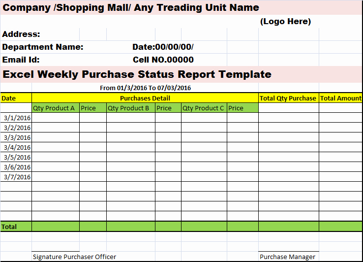 Weekly Project Status Report Template Excel Unique Excel Weekly Purchases Status Report Template – Free