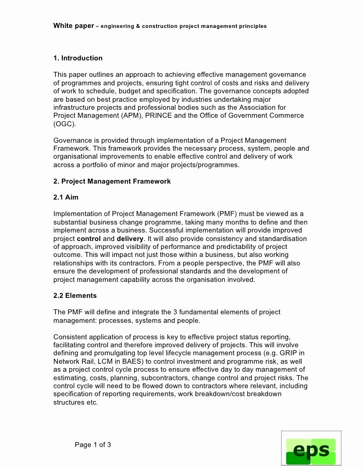 White Paper Outline Template Best Of Engineering Project Management Framework White Paper