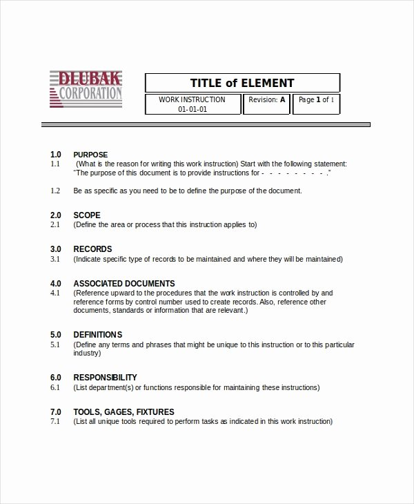 Work Instruction Template Word Beautiful Writing Instruction Templates 6 Free Word Pdf Document