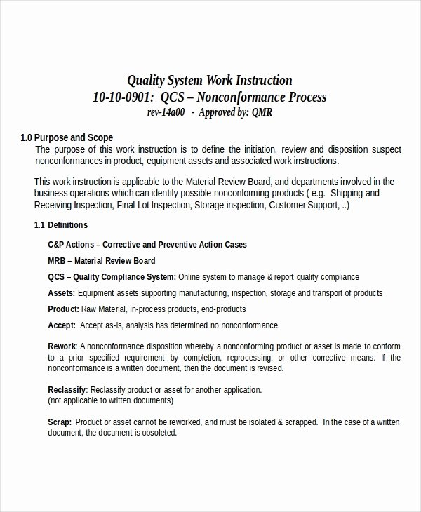 Work Instruction Template Word Best Of Working Instruction Template 6 Free Word Pdf Document