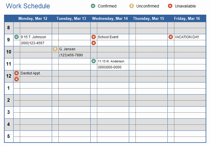 Work Plan Template Excel Inspirational Work Schedule Template for Excel