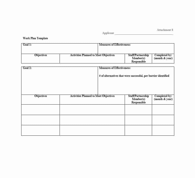 Work Plan Template Excel New Work Plan 40 Great Templates & Samples Excel Word