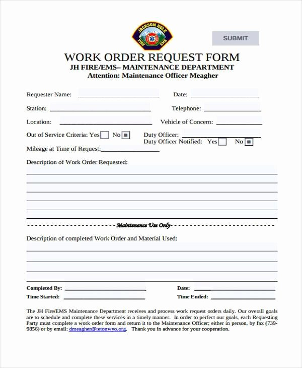 Work Request form Lovely Sample order forms