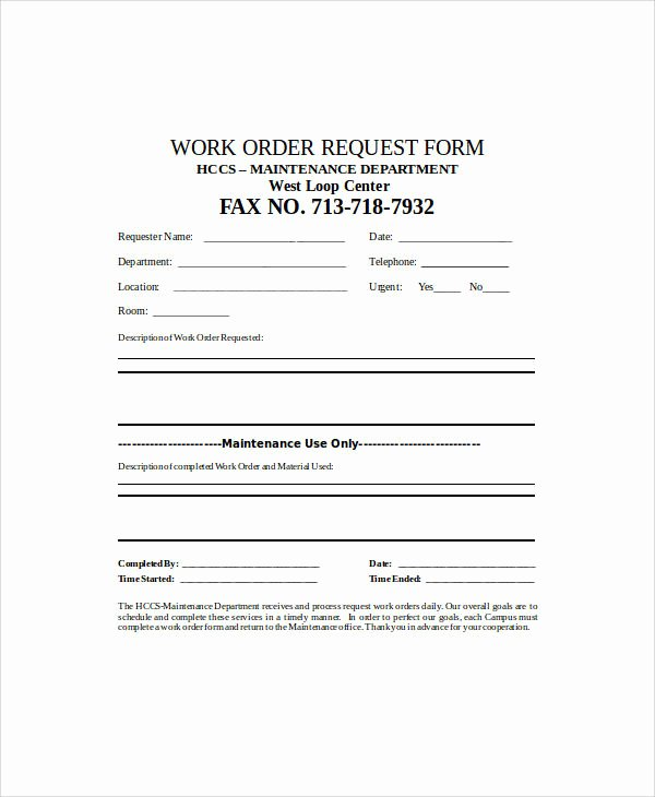 Work Request form Luxury 38 Sample Sheets