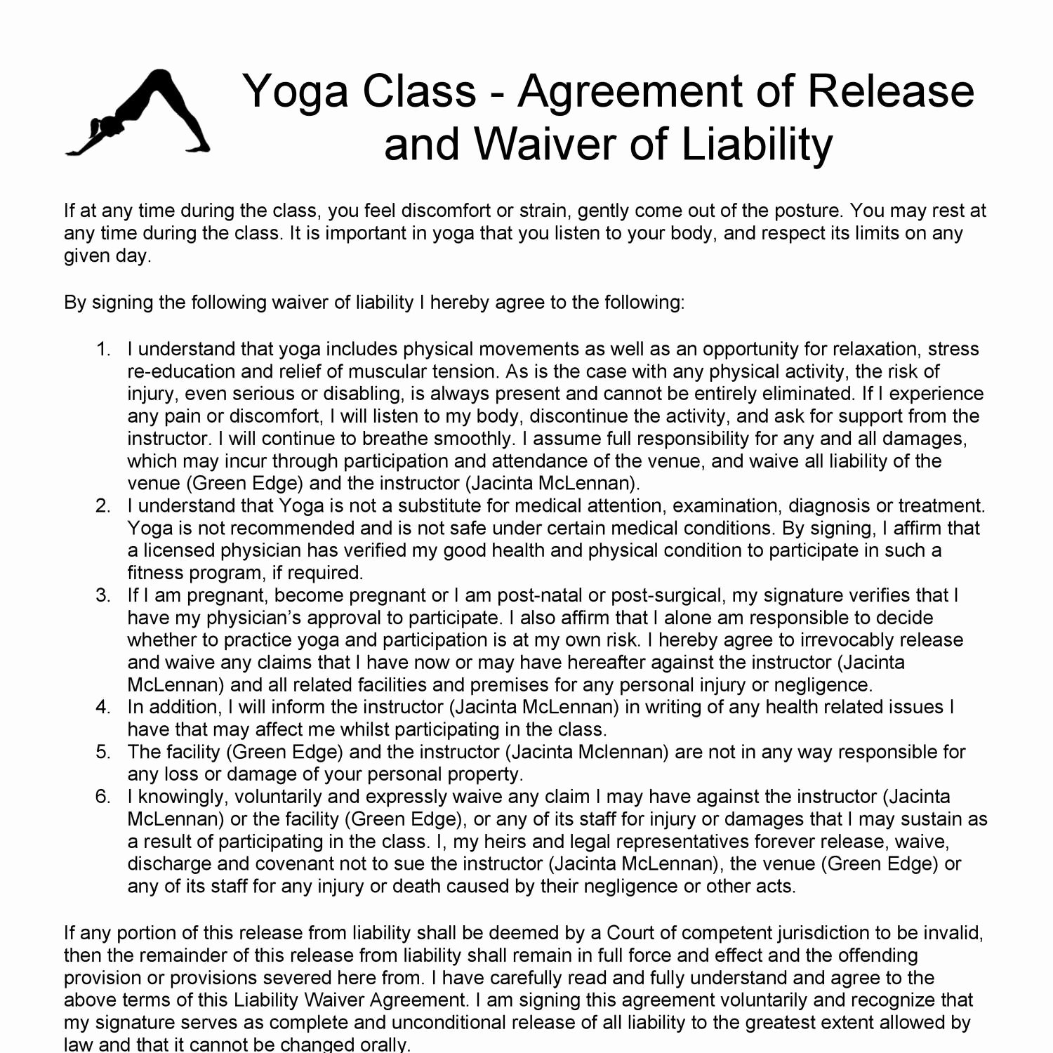 Yoga Release forms Best Of Yoga Release and Waiver form Teaching Pdf