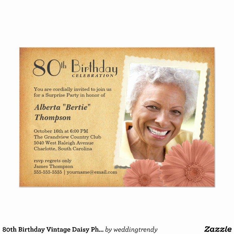 80th birthday vintage daisy photo invitations